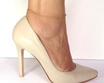 Gold Anklet - 14K Gold Anklet , Gold Anklet Bracelet, Minimalist Anklet, Simple Anklet , Layering Anklet , Delicate chain Anklet