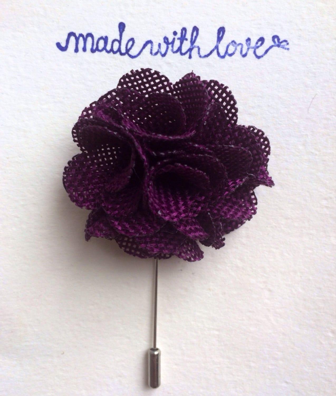 Lapel Flower Mens Lapel Flower Plum lapel Pin Purple Lapel