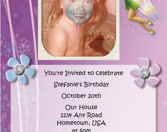 5x7 or 4x6 Disney Fairy Tinker Bell Invitation 1 photo  (Custom, Digital File only)