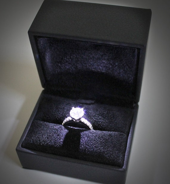 Items similar to high quality lighted ring box black for Cute engagement ring boxes