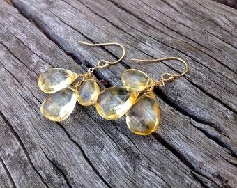 Handmade Citrine Gold Earrings