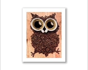 """Coffee Photography, Coffee Art, Cafe Decor -- """"Hoo"""""""