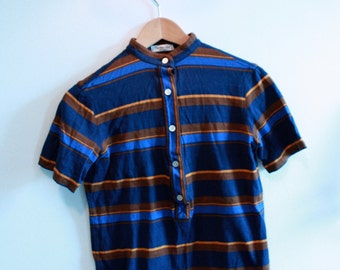 Striped Colared Buttondown Top ~ Small