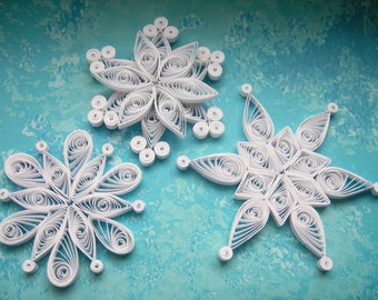 NISEKO snowflakes - Paper quilled ornaments - Christmas decoration - Handmade gift