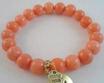 Lovely Tangerine Orange Stone Bead Bracelet
