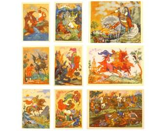 Russian Epic postcard, Set, Soviet Postcards, Palekh, Art, Bylina, Print, Tale, Soviet Union Vintage Postcard, USSR, Unused Postcards, 1968