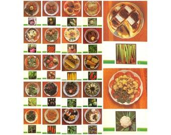 Vegetables, Set of 22 postcards, Dishes of Russian Kitchen,  Recipes, Food, USSR Postcard, Soviet Union, Soviet Vintage Postcard,  1990