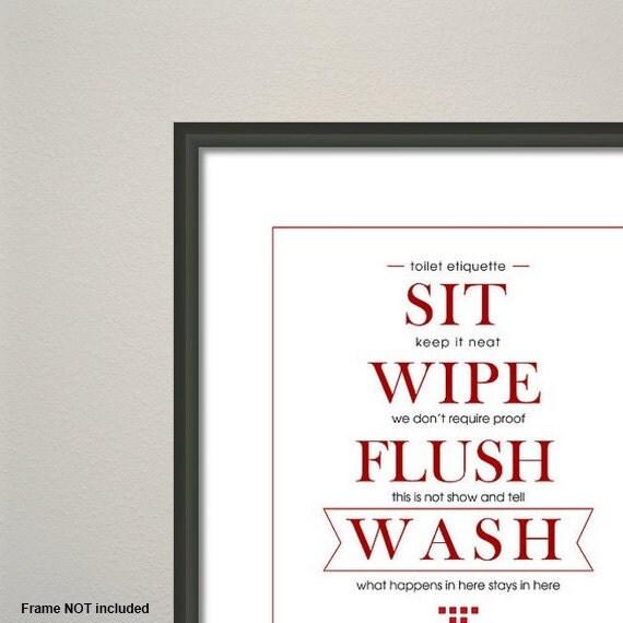 Toilet Etiquette Art Print Funny Housewarming Gift By JeebyMe