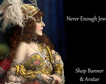 Shop Banner, Never Enough Jewels, shop banner, Instant download, Blank, lovely vintage lady dripping in gems, DIY