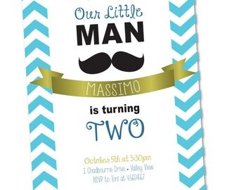 Mustache Bash   Birthday Invitation   Little Man    5x7 {Digital File} Stash Moustache
