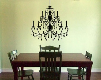 Chandelier Wall Decal - Victorian Chandelier Decal - Wall Chandelier Baroque Style Wall Decal