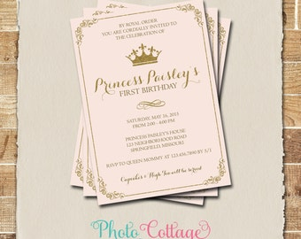 Royal Birthday Invitation, Princess Birthday Party, Royal Ball Invitations, Birthday Party Invitations, Pink & Gold Invitations, BP104