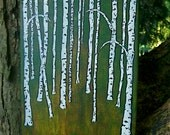 "Evergreen Birch Forest (ORIGINAL ACRYLIC PAINTING) 8"" x 10"" by Mike Kraus"