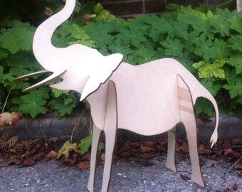 Press-out Laser-cut Trumpeting Elephant, lovely slot together plywood Jumbo 40cm tall