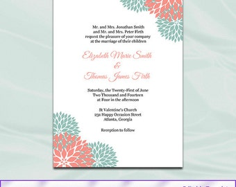 Editable wedding invitation templates free download pdf yaseen for 11 coral wedding invitation t emplate diy printable garden floral invite stopboris Choice Image