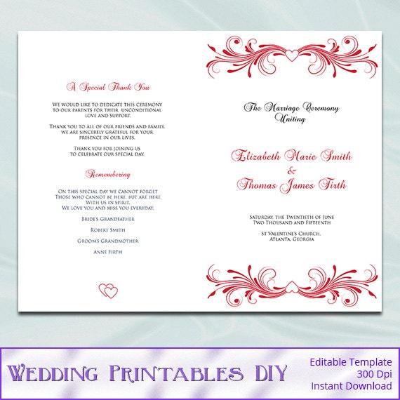 Wedding Program Template Diy Red Order Of Ceremony Booklet