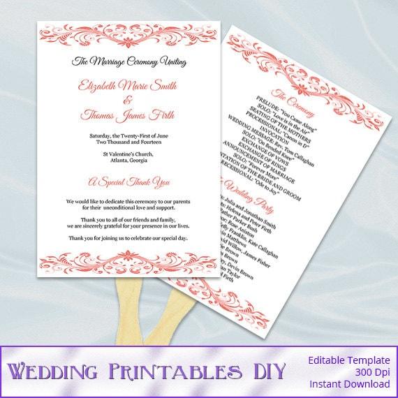 Wedding Program Fan Template Diy Coral Printable Order Of