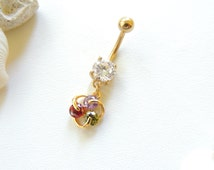 Gold Belly Button Ring, Gemstone Navel Rings, Sexy Body Jewelry, Small Navel Rings, Crystal Navel Rings. 200