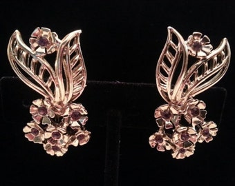 Stunning Vintage Goldtone Screwback Earrings with Flower and Elongated Leaf Accented with Simulated Amethyst