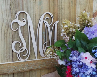 Wooden Monogram - Unfinished Vine Script Mongram - Monogram Door Hanger - Laser Cut Wooden Monogram - Wooden Letters - Wedding Monogram