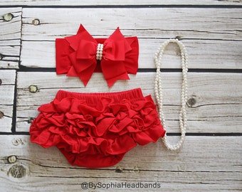 Red Ruffle Back Bloomers and Headband, Baby Big Bow Headband, Cotton Baby Bloomers, Christmas Headband, Baby Headband, Diaper Cover, 2222