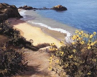 "California Coast Painting Print 8 x 11"" Open Edition Giclee. Title: Corona Morning"