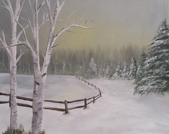 Winter's Dawn. Acrylic on 16x20 canvas.