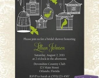 Green Bridal Shower Invitation - Hanging Bird Cage Bridal Shower Invite - Birds Chalkboard Wedding Shower Invitation - 1153 PRINTABLE