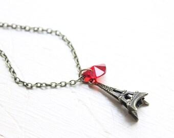 Paris Love Charm Necklace - J'Adore Paris Eiffel Tower Heart- Paris je t'aime Pendant Necklace