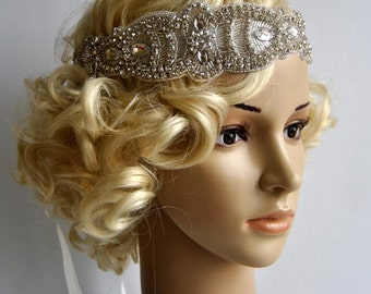 Luxury Rhinestone Headband, Bridal Headband, Wedding Headpiece, Fascinator, Ribbon tie on Bridal Headband,wedding bridesmaid headband