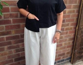 Black irish linen short sleeved top