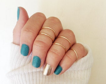 5 Dainty Gold Knuckle Rings: Set of 5 Mid Rings knuckle rings (5 total Stackable Rings)