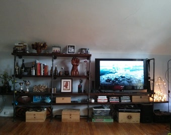 Rustic Industrial Tv Stand Pipe Wall Shelf Entertainment