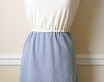 Vintage Cream and Light Blue Dress