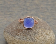 Blue Chalcedony Beautiful Textured Cushion 10mm Micron Rose Gold Plated 925 Sterling Silver Gemstone Ring - #1112
