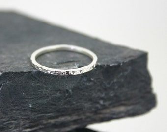 Silver Sparkle Hammered Stacking Band Ring- sterling silver ring – one hammered– hand made jewelry - .925 silver