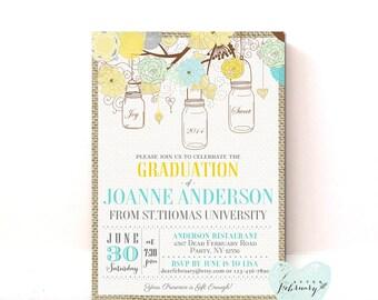 Graduation Invitation // Mason Jar Invitation Mint Yellow Burlap Backyard Summer //  Typography // Printable No.37