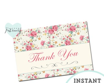 INSTANT Download Thank You Card -  Printable 4x6 - Cottage Chic Floral  - No.276