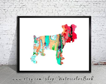 Miniature Schnauzer 2 Watercolor Print, animal art, dog watercolor, watercolor painting, animal watercolor, Schnauzer art,dog art,dog poster