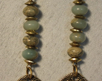 Mod jade and brass earrings