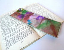 Purple & Brown OOAK Hand painted Bookmark , Green Satin ribbon  and beads, Original Abstract Landscape Watercolor painting by Dhana