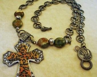 Leopard Print Cross and Jasper Beads Necklace
