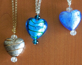 Necklace with glass heart pendants with Swarovski