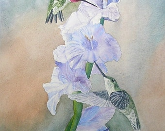 Hummingbird Pair..........Original Watercolor Painting