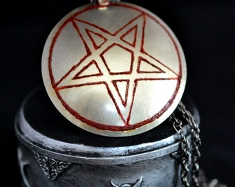 INVERTED PENTAGRAM PENTACLE medallion, satanic, satan, magick, chaos, occult, magic, esoteric, baphomet, goat, evil, god
