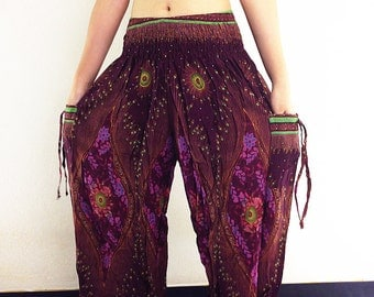 Women Trouser Thai Pants Yoga Pants Aladdin Pants Maxi Pants Baggy Pants Gypsy Pants Rayon Genie Pant Hippy Pants Trouser Maroon Brown(TS45)