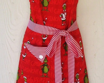 Cute Grinch Apron , Christmas Apron , How the Grinch Stole Christmas , Dr Seuss , Retro Full Apron , Peppermint Stripes , KitschNStyle