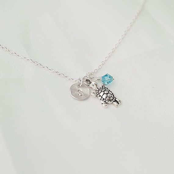Birthstone Necklace, Personalized Initial Turtle Necklace, Turtle with Swarovsky Crystal, Turtle,Summer Jewelry