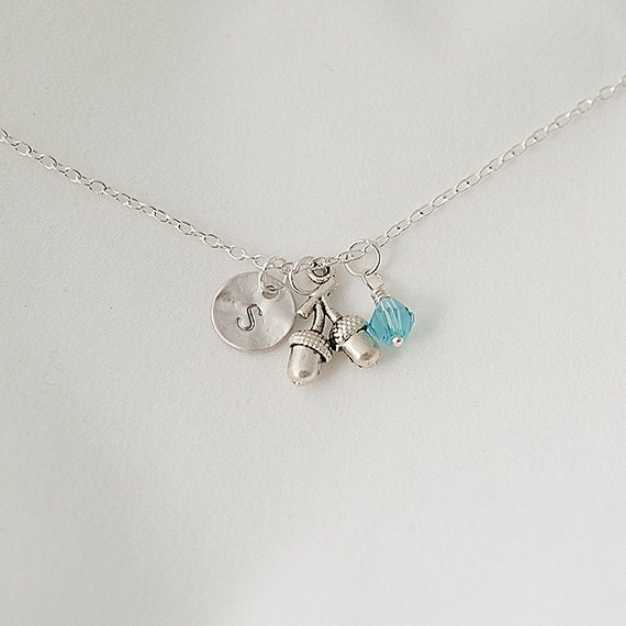 Birthstone Necklace, Personalized Initial Silver Acorn Nnecklace, Swarovski Crystal Necklace