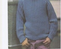 Boys Sweater, Knitted Boys Jumper, Boys Sweater Pattern, Boys Jumper Pattern, 1970s Boys Sweater. Knitting Pattern Only.